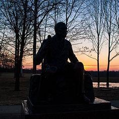 Sunrise this morning behind the GAR monument #gettysburg
