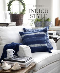 Artwood indigo style blue and white  - love the blue pillows against the white chair.