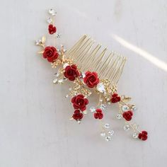 Red Floral Bridal Hair Accessories Headband Gold Wedding Hair Comb Accessories Women Prom Headpiece Jewelry hair comb - Wedding Hair Up - Headpiece Jewelry, Hair Jewelry, Bridal Jewelry, Floral Headpiece, Rose Jewelry, Jewellery, Prom Hair Accessories, Women Accessories, Fashion Accessories