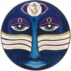 Chakra art print with affirmations & crystals - third eye chakra || spiritual art || yoga art || yoga lovers || yoga gifts || chakra gift  #etsy #chakraart #chakramandala #chakramandalaart #mandalaart #chakrahealing