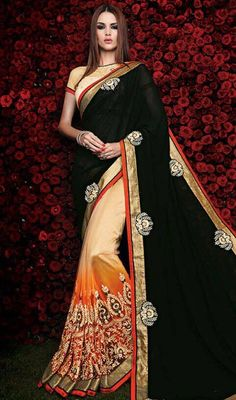 Induce peaceful and refreshing vibes with this black and cream color net georgette half n half sari. The beautiful lace and resham work a vital attribute of this attire. Upon request we can make round front/back neck and short 6 inches sleeves regular saree blouse also. #buttaworksaree #georgettehalfnhalfsari #netembroidredsarees