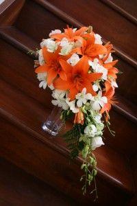 orange fern in bouquet   Tear Drop Bridal Bouquet-Orange Asiatic Lily's, White Roses, White ...