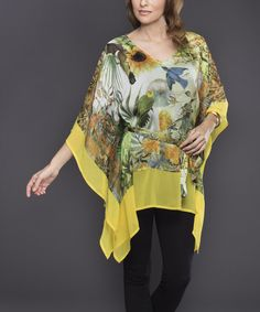 This Yellow Jungle Sleeveless Sidetail Tunic by Adore is perfect! #zulilyfinds