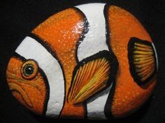 Original Hand Painted Stone / River Rock Tropical Fish / Outdoor / Home  Decor in Acrylics