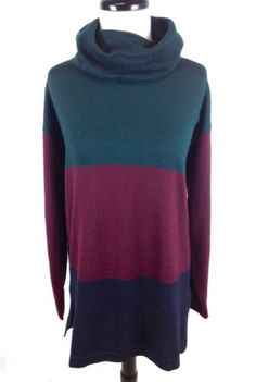 VALERIE-STEVENS-Sweater-WOOL-Green-KNIT-Stripe-COLOR-Block-TUNIC-Cowl-Neck-S