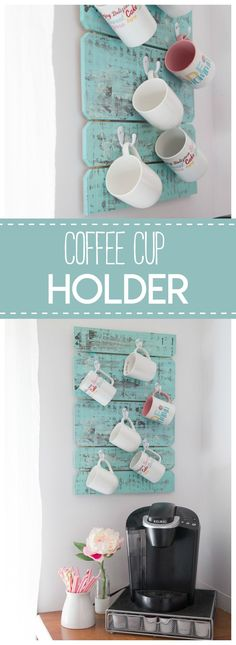 This coffee cup holder is a simple & pretty diy project to organize your coffee mugs.