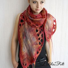 Nuno Felted Silk Scarf  Shawl Wrap RED ORANGE Ecofriendly