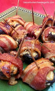 Mushrooms stuffed with shredded butter, roasted garlic, Monterrey Jack Cheese, and wrapped with bacon!