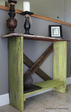 Sofa Table, http://bec4-beyondthepicketfence.blogspot.com/2013/03/spring-green-sofa-table.html- not green and with another shelf