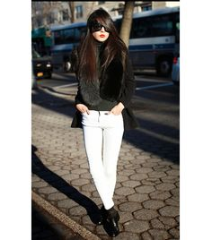 white jeans with black look, 8 Secrets To Dressing Like A French Girl via French Girl Style, French Girls, French Chic, My Style, Classic Style, Paris Chic, Uniqlo, Sunnies, Topshop