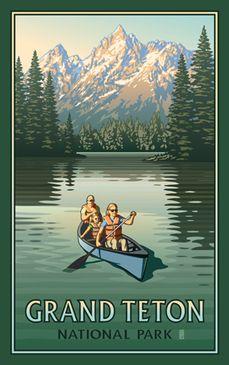 Vintage Travel Grand Teton National Park Canoers - Canoers enjoy the day in Banff National Park. National Park Posters, Us National Parks, Grand Teton National Park, Banff National Park, Online Painting, Paintings Online, Park Art, Vintage Travel Posters, Poster Vintage