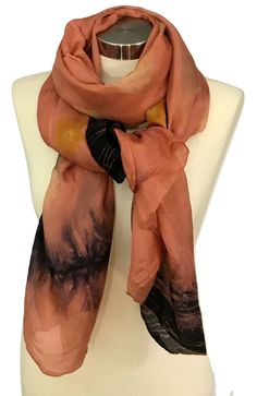 Orange Silk Scarf, Silk Scarf Long, Eco Print, Silk Shawl, Scarves and Shawls, Hand Made Scarves, Gift For Her, Unique Scarf, Soft scarf by rachelsilkscarves on Etsy