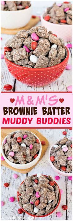 M&Ms Brownie Batter Muddy Buddies - this easy no bake snack. M&Ms Brownie Batter Muddy Buddies - this easy no bake snack mix is loaded with chocolate candies and brownie flavor. Great recipe to make and eat in under ten minutes! Holiday Treats, Holiday Recipes, Great Recipes, Snack Recipes, Dessert Recipes, Amazing Recipes, Easy Recipes, No Bake Snacks, Snacks Für Party
