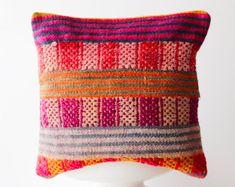 authentic traditional Peruvian handmade vintage frazada pillow cover colorful decorative throw pillow Peru bohemian boho