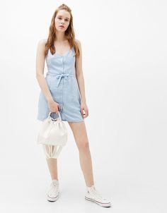 Vestido tirantes lino - Novedades - Bershka España
