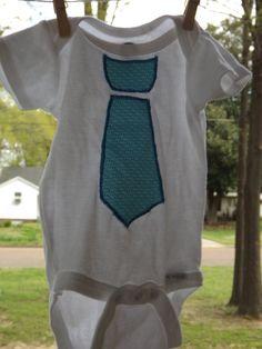 Tie applique onesie by MonogramBoutiqueMS on Etsy, via Etsy.