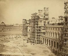 New Louvre under construction, Paris (circa 1855). Architects: Louis-Tullius-Joachim Visconti and Hector-Martin Lefuel, Photographer: Edouard Baldus.