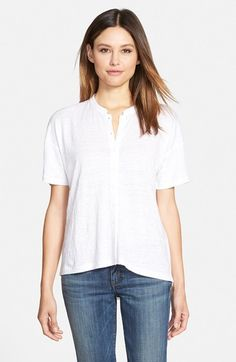 Eileen Fisher Mandarin Collar Organic Cotton Knit Shirt available at #Nordstrom