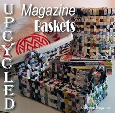 Upcycled Magazines  Woven Baskets and Trash Can