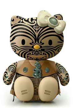 new zealand maori hello kitty! i dont like hello kitty, but i love the maori, so this is pretty sick! Hello Kitty Art, Here Kitty Kitty, Hello Kitty Characters, Maori Designs, Nz Art, Miss Kitty, Maori Art, Kiwiana, Little Pony