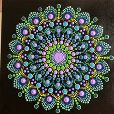 Bold and lovely Dot Mandala on canvas board x Purple, periwinkle, turquoise, green Dot Art Painting, Rock Painting Designs, Mandala Painting, Stone Painting, Painting With Dots, Mandala Design, Mandala Pattern, Motif Art Deco, Using Acrylic Paint
