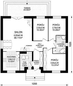 DOM.PL™ - Projekt domu ARD Rumianek 1 paliwo stałe CE - DOM RD1-70 - gotowy koszt budowy Tiny House, House Plans, Floor Plans, Cottage, How To Plan, Case, Projects, Cottages, Tiny Houses