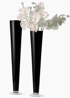 24in & 28in Black Glass Trumpet Vases