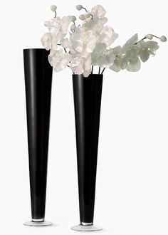 Black Glass Trumpet Vases – sold by JamaliGarden Black Centerpieces, Wedding Vase Centerpieces, Wedding Centerpieces, Wedding Decorations, Tall Flower Arrangements, Flower Vases, Wholesale Vases, Black And White Stars, Black Gold