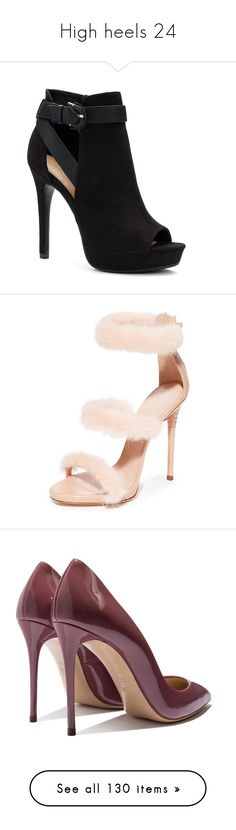 """High heels 24"" by musicmelody1 on Polyvore featuring shoes, boots, ankle booties, heels, zapatos, black, ankle strap stilettos, ankle strap shoes, apt 9 shoes and black buckle shoes"