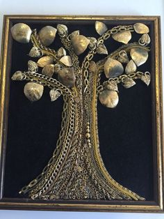 Rare+Framed+Jewelry+Art+Gold+Tone+Tree+Some+Vintage+10x11.75+by+Judy+#JudysDustyTreasures