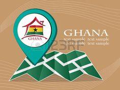 map with pointer flag Ghana vector illustration