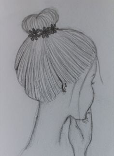 Mädchen mit Dutt und blumen im Haar frisur Girl with bun and flowers in hair. Girl Drawing Sketches, Art Drawings Sketches Simple, Pencil Art Drawings, Cute Drawings, Easy Drawings Of Girls, Disney Drawings, Drawing People, Flowers In Hair, Painting & Drawing