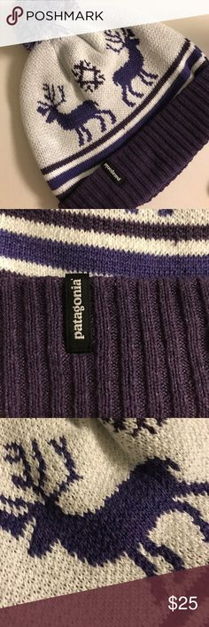 Patagonia Powder Town Beanie Cutest beanie around. Purple and white reindeer and  ❄️ snowflake ❄️ details. No slipping, stays on head. Very warm and cozy. Perfect for this time of year! Hardly worn. Patagonia Accessories Hats