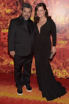 Luis Guzman and Marcia Gay Harden pose together at the HBO after party.