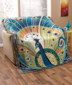 """50""""X60"""" Tapestry Throw Peacock 50"""" x 60"""" Throw:"""