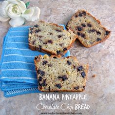 Banana Pineapple Chocolate Chip Bread via @lovelypinkdiva/ , a sweet bread that is a great combination of flavors. // #banana #bread #pineapple #chocolate