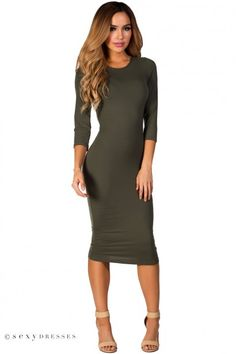 Olive green sleeve jersey bodycon midi dress - Online Store Powered by Storenvy Casual Dresses With Sleeves, Cute Casual Dresses, Bodycon Dress With Sleeves, Short Sleeve Dresses, Bodycon Work Dress, Trendy Outfits, Work Outfits, Sexy Dresses, Look Kim Kardashian