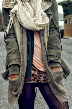 Cozy Fall Outfit With Jacket,Cardigan,Scarf and Leopard Print
