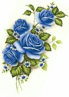 Decoupage Vintage, Decoupage Paper, Blue Roses, Blue Flowers, Flower Images, Flower Art, Rose Art, Fabric Painting, Beautiful Roses
