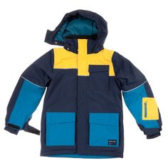 Love this! at Polarn O. Pyret UK & Ireland KIDS PADDED WINTER COAT #polarnopyretuk #qualitychildrensclothes #colourfulkidsclothes Padded wind and waterproof jacket with good breathability and comfy fleece lining – perfect for skiing. Fully taped seams make the garment waterproof. Soft fleece inside the collar. The zip has a guard at the top to protect child's chin and cheeks, and is covered by a storm flap for extra protection against cold and snow. Detachable and adjustable hood. Pre-bent…