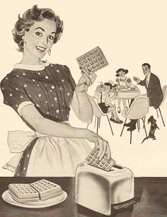 Vintage housewife is happy but hungry! Hope there are enough waffles.