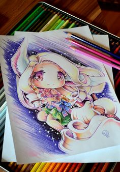 Chibi Banana Soraka by Lighane Kawaii Chibi, Cute Chibi, Kawaii Art, Anime Chibi, Kawaii Anime, Manga Anime, Anime Art, Cartoon Drawings, Cartoon Art
