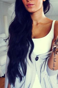 Gorgeous, long black wavy hair.