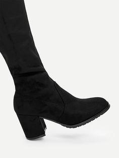 89486daefc Tie Back Over Knee Block Heeled Boots -SheIn(Sheinside)