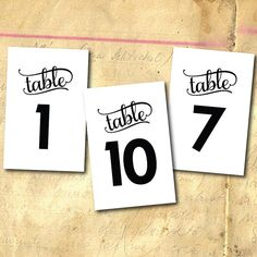 Personalized Wedding Table Numbers  Modern Black by TypeTen, $10.00