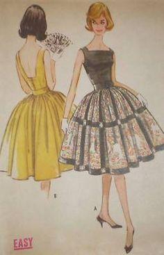 Vtg 60s M5770 Attachd Petticoat Party Dress Pattern 31B