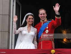 Their Royal Highnesses Prince William, Duke of Cambridge and Catherine, Duchess of Cambridge wave on the balcony at Buckingham Palace during the Royal Wedding of Prince William to Catherine Middleton on April 29, 2011 in London, England. The marriage of the second in line to the British throne was led by the Archbishop of Canterbury and was attended by 1900 guests, including foreign Royal family members and heads of state. Thousands of well-wishers from around the world have also flocked to…