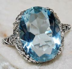 4CT Aquamarine 925 Solid Sterling Silver Victorian Style Filigree Ring Sz 7-it's mine now