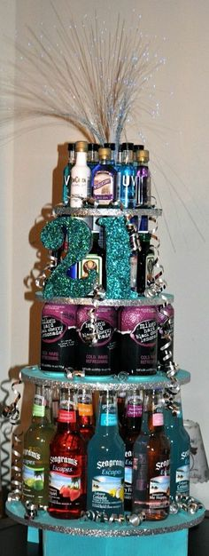 All my favorite drinks! Girly version of the beer cake :) Perfect for bachelorette party, birthday or just a girls night :) 21st Bday Ideas, 21st Birthday Ideas For Girls Turning 21, 21st Birthday Basket For Girls, Creative Birthday Ideas, Deco Table, Party Gifts, Cute Gifts, Diy Gifts, Holiday Parties