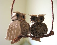 Christmas Ornament Cardboard Owl Duo